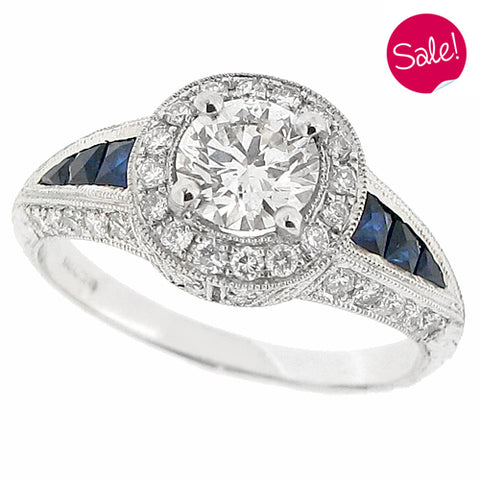 Diamond and sapphire 1920s style ring in 18ct white gold, 1.19ct