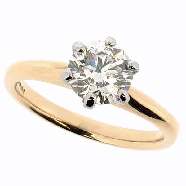 Brilliant cut diamond solitaire ring in 18ct yellow gold and platinum, 1.00ct
