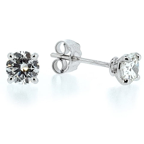 Brilliant cut diamond solitaire earrings in 18ct white gold, 1.00ct