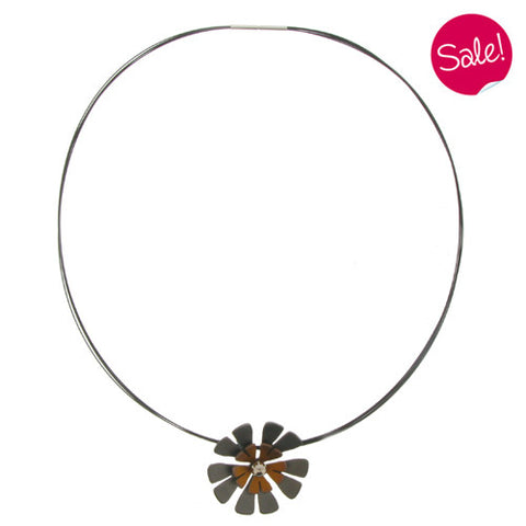 Neckwear - Ten petal flower pendant and wire in titanium  - PA Jewellery