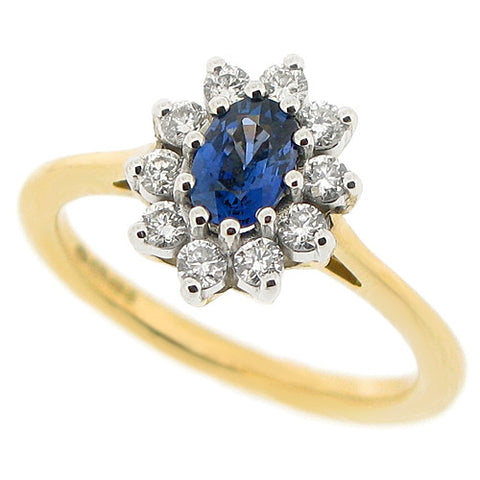 Sapphire and diamond cluster ring in 18ct yellow gold