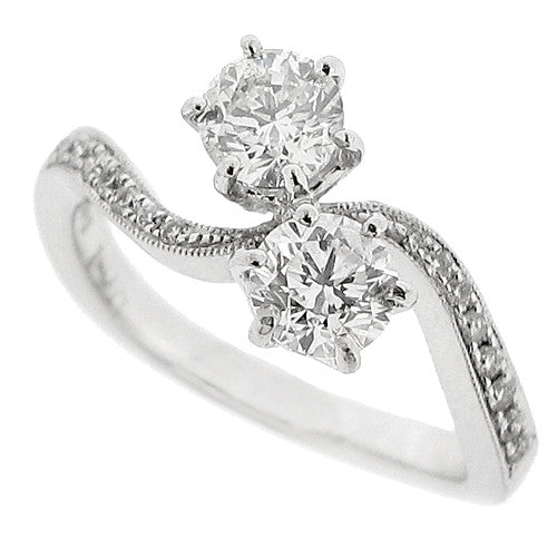 Diamond twist two stone ring in 18ct white gold, 1.13ct