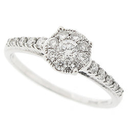 Diamond cluster ring in 18ct white gold, 0.50ct