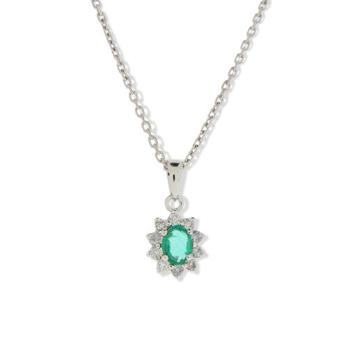 Neckwear - Emerald and diamond cluster pendant in 9ct white gold  - PA Jewellery