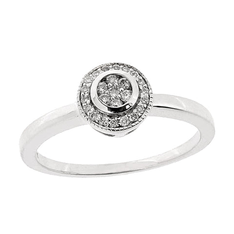 Diamond round cluster ring in 9ct white gold, 0.10ct