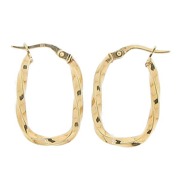 Oval open twist creole earrings in 9ct gold