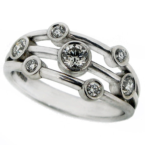 Ring - Multi row diamond dress ring in 18ct white gold, 0.47ct.  - PA Jewellery