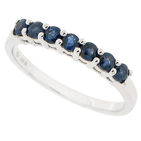 Sapphire half eternity band in 9ct white gold