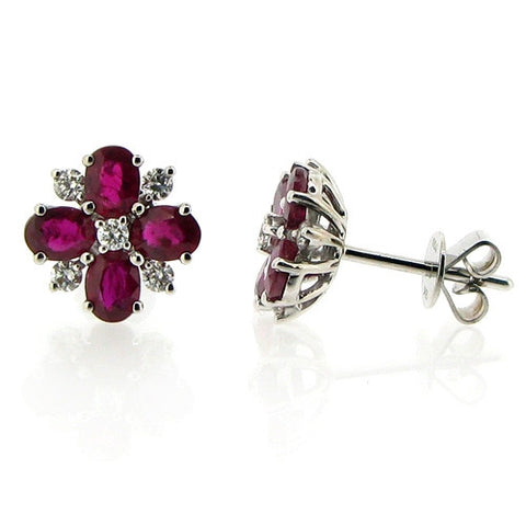 Earrings - Ruby & Diamond cluster stud earrings in 18ct white gold  - PA Jewellery