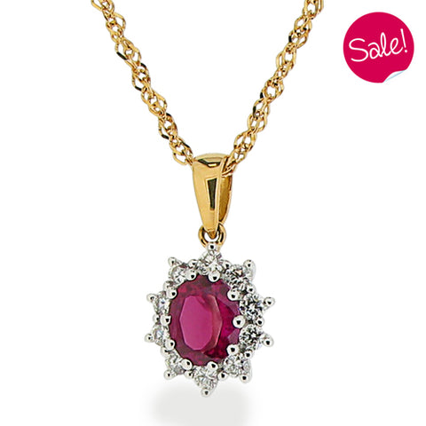 Ruby and diamond pendant and chain in 18ct yellow gold