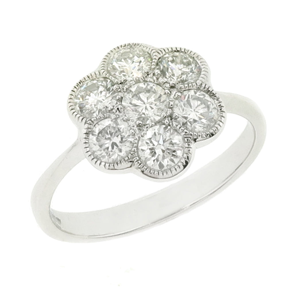 Diamond Edwardian style daisy cluster ring in 18ct white gold, 1.00ct