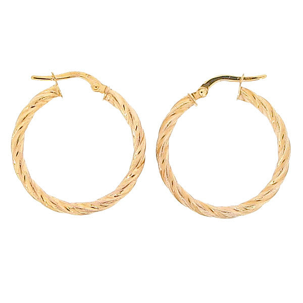 Round twist creole earrings in 9ct gold