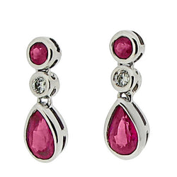 Earrings - Ruby & Diamond drop earrings in 18ct white gold.  - PA Jewellery