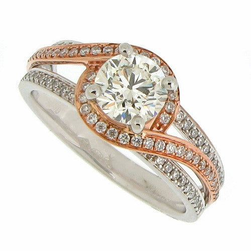 Ring - Diamond swirl ring in platinum and 18ct rose gold, 1.21ct  - PA Jewellery