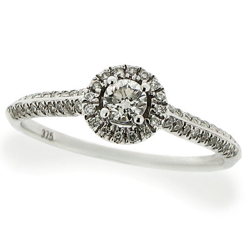 Ring - Brilliant cut Diamond 'halo' cluster ring in 9ct white gold, 0.35ct  - PA Jewellery