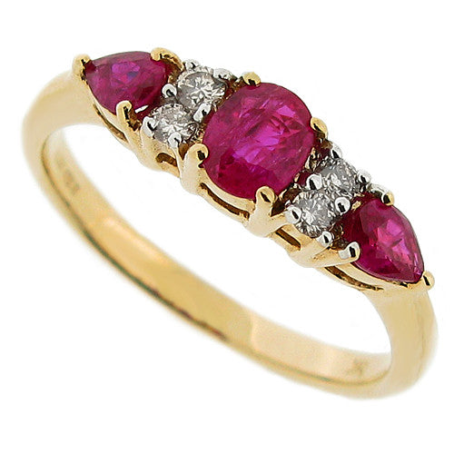 Ring - Ruby & Diamond seven stone cluster ring in 9ct yellow gold  - PA Jewellery