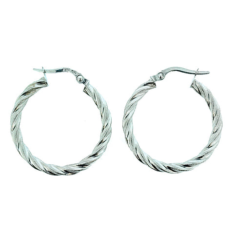 Twist design round creole earrings in 9ct white gold