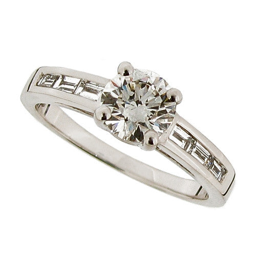 Ring - Diamond solitaire ring with baguette diamond set shoulders in platinum, 0.89ct  - PA Jewellery