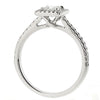 Princess cut diamond halo cluster ring in 18ct white gold, 0.67ct