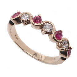 Ruby and diamond seven stone ring in 9ct gold