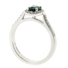 Sapphire and diamond halo cluster ring in 9ct white gold