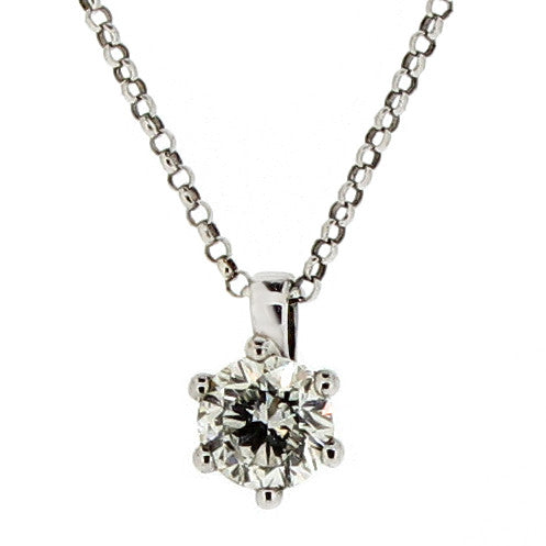 Neckwear - Brilliant cut diamond solitaire pendant and chain in 18ct white gold, 0.70ct  - PA Jewellery