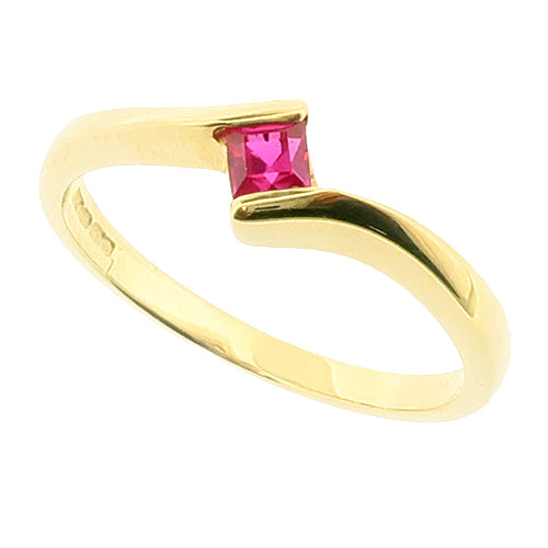 Red cubic zirconia twist solitaire ring in 9ct gold