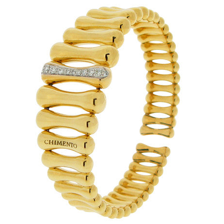 Wristwear - Bamboo diamond set bangle in 18ct yellow gold  - PA Jewellery