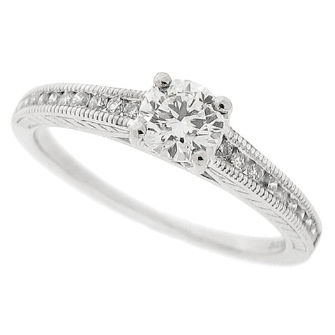 Diamond ring with diamond set shoulders in platinum, 0.50ct