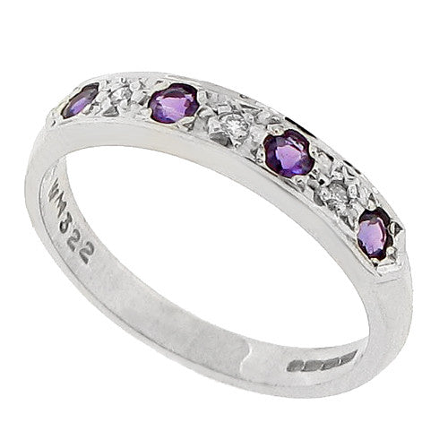 Amethyst and diamond half eternity band in 9ct white gold