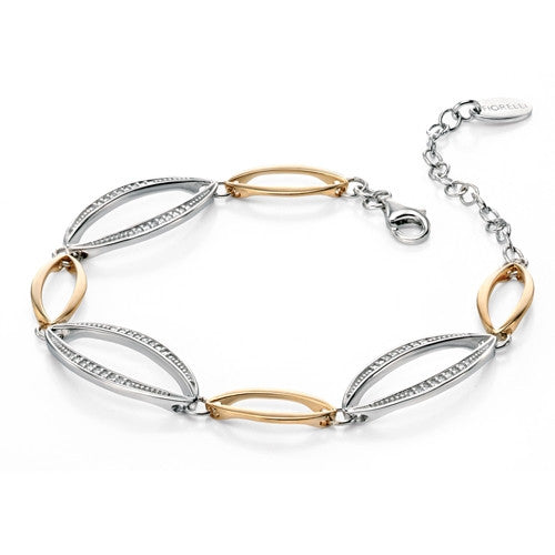 Wristwear - Marquise bracelet with pavé CZ in silver with gold plating  - PA Jewellery