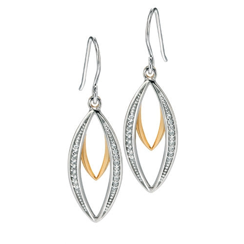 Earrings - Marquise drop earrings with cubic zirconia in silver with gold plating  - PA Jewellery