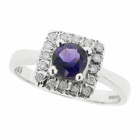 Ring - Amethyst and diamond cluster ring in 9ct white gold  - PA Jewellery