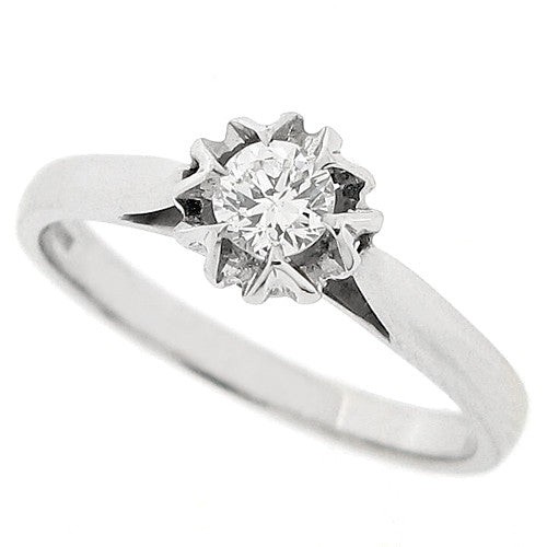 Star detail brilliant cut diamond solitaire in 9ct white gold, 0.25ct