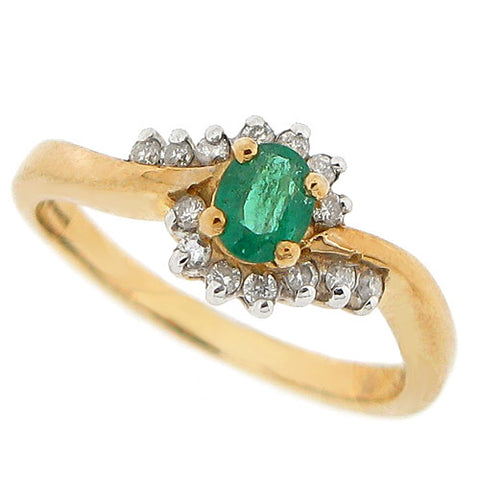 Emerald and diamond cluster ring in 9ct yellow gold