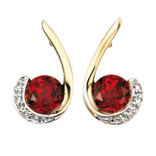Earrings - Garnet and diamond swirl earrings in 9ct yellow gold  - PA Jewellery