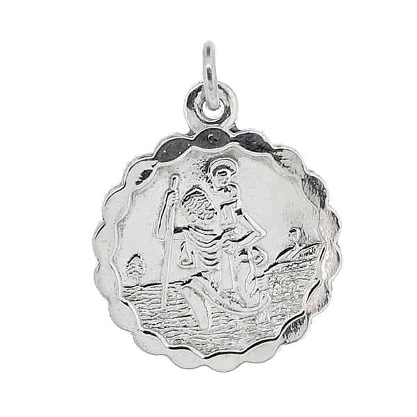 Round St Christopher pendant in silver