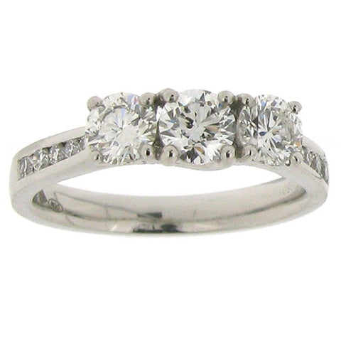 Ring - Diamond three stone ring with diamond set shoulders in platinum, 1.12ct.  - PA Jewellery