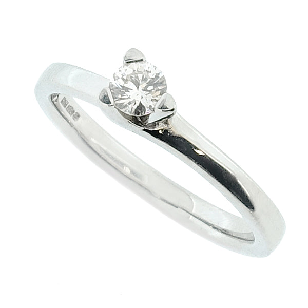 Brilliant cut diamond solitaire ring in platinum, 0.16ct
