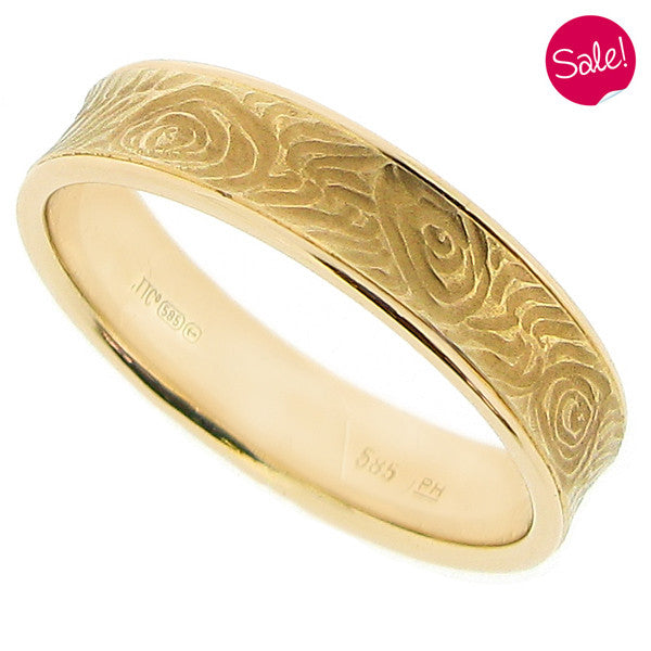 Textured band ring in 14ct yellow gold