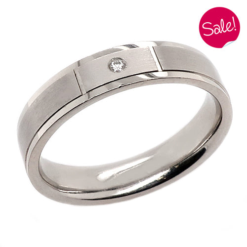 Diamond set brushed and polished 5mm band in palladium, 0.02ct