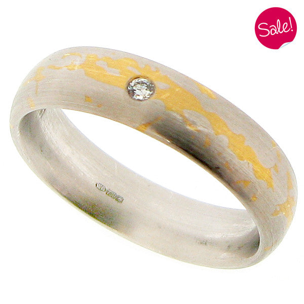Mokume diamond set band ring in 18ct white and yellow gold
