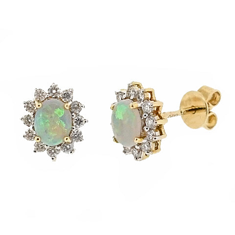 Opal and diamond cluster earrings in 18ct gold