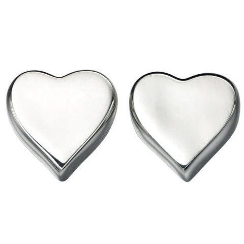 Earrings - Heart shaped stud earrings in silver  - PA Jewellery