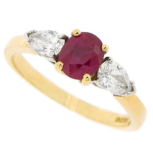 Ruby and diamond three stone ring in 18ct yellow gold