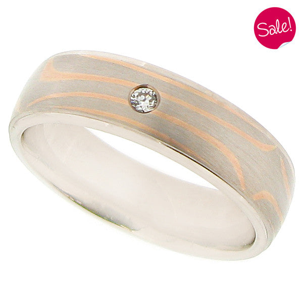 Mokume diamond set band in 18ct white and rose gold