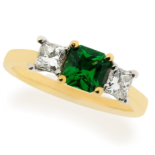 Ring - Tsavorite Garnet & Diamond three stone ring in 18ct yellow gold  - PA Jewellery