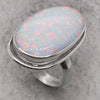 Simulated opal large dress ring in silver