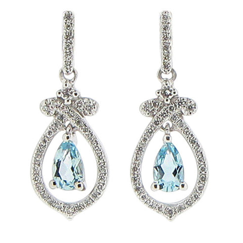 Earrings - Aquamarine and diamond 'bow' drop earrings in 18ct white gold  - PA Jewellery