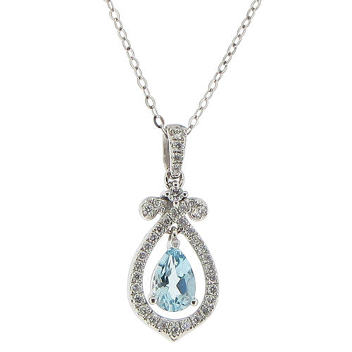 Neckwear - Aquamarine and diamond 'bow' pendant and chain in 18ct white gold  - PA Jewellery